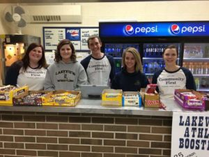 Colleen, Penny, Matt, Alanna, and Michelle at the concession stand