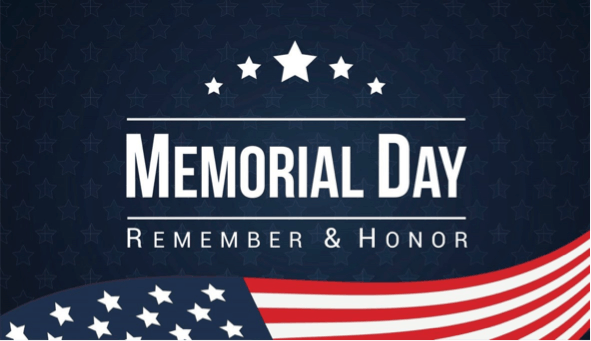 "American Flag with the words ""Memoral Day, Remember and Honor"""